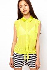 bez r�kaw�w koszula Asos - neonowa limonka