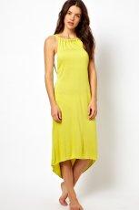 sukienka Asos z asymetrycznym do�em - neonowa limonka