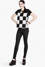 bia�o-czarna bluzka H&M w kratk� - jesie� 2013