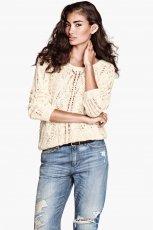 bia�y sweter H&M - jesie� 2013