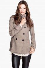 dwurz�dowy p�aszcz H&M w kolorze szarym - moda 2013/14