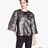 po�yskliwy p�aszcz H&M w kolorze szarym - moda na jesie� 2013