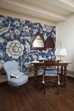 Pi�kna niebieska fototapeta w kwiaty  - dekoracje do wn�trz
