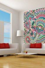 Pi�kna i kolorowa fototapeta kwieciste ornamenty - dekoracje do wn�trz