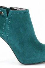 zamszowe botki Baldowski w kolorze ciemnozielonym - buty na jesie� i zim�