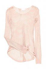prze�wituj�cy sweter Cropp w kolorze jasnor�owym - moda na jesie� 2013