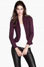 rozpinany sweter H&M w kolorze bordowym - moda 2013/14