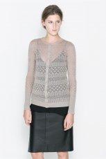 prze�wituj�cy sweter ZARA w kolorze szarym - moda 2013/14