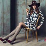 bia�a sukienka Bizuu w geometryczne wzory - jesie�-zima 2013/14