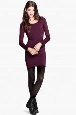 dopasowana sukienka H&M w kolorze bordowym - jesienne sukienki