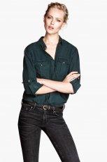 modna koszula H&M w kolorze ciemnozielonym - moda na zim�