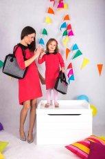 czerwona sukienka SmallBig z ko�nierzykiem dla mamy i c�rki