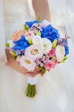bia�o - niebieski bukiet �lubny