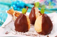 Gruszki w polewie czekoladowej