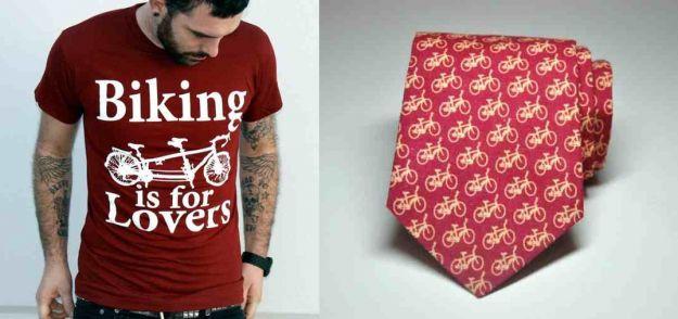 koszulka i krawar z rowerem