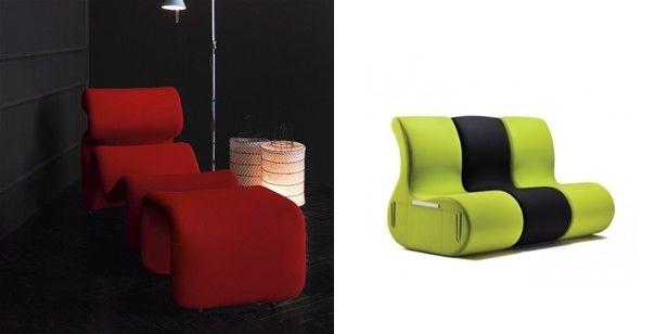 fotel czerwony i zielony