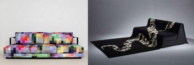 kolorowa i czarna kanapa