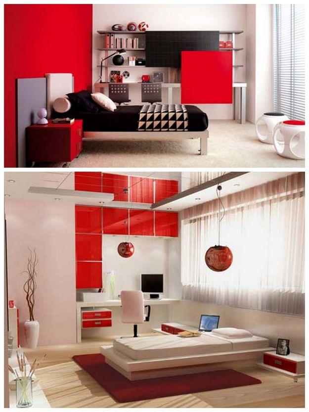 intensywna czerwień w sypialni