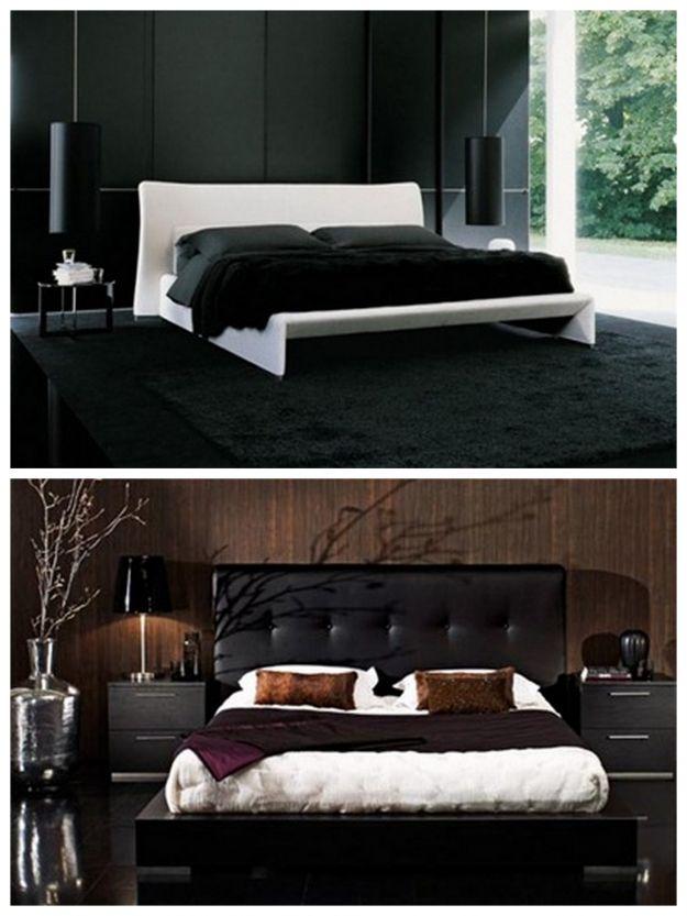 sypialnia w kolorach czerni