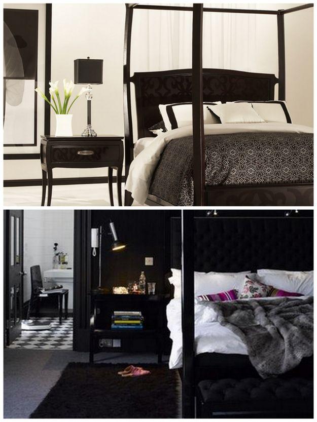 czarne dodatki do sypialni