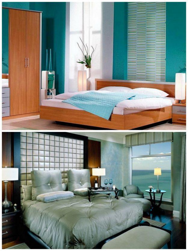 seledynowa sypialnia