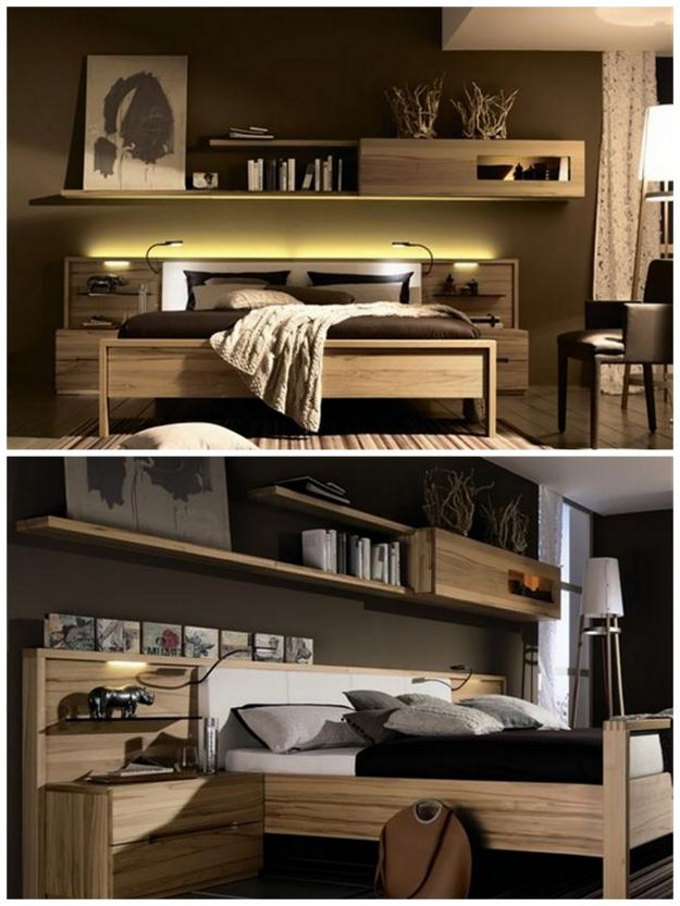 stylowa sypialnia w kolorze brązowym