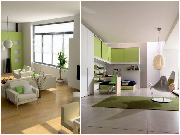 aranżację wnętrza w kolorze bieli i zieleni