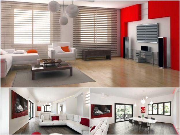 Wnętrzach w kolorach bieli i czerwieni