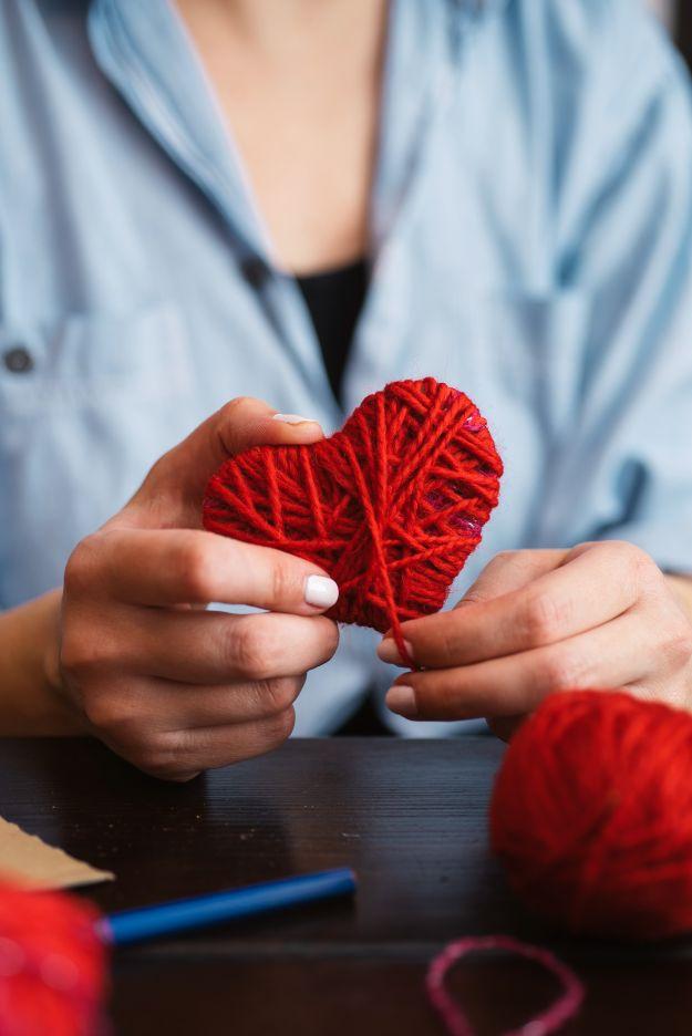 Serce z włóczki - DIY