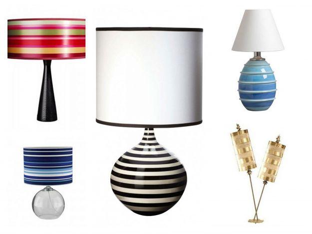 designerskie lampy w paski