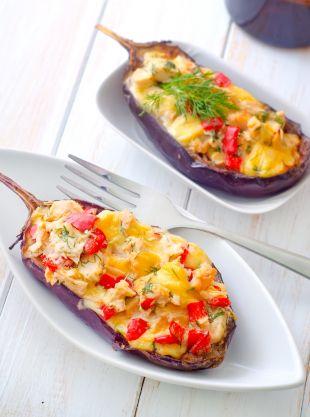 Faszerowane bakłażany z żółtym serem
