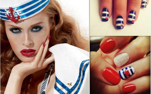 Manicure w stylu marynarskim