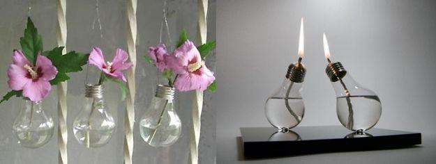 żarowki jak wazon i świecznik