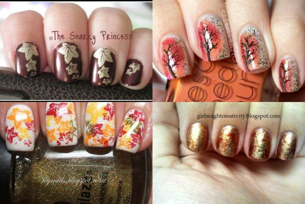 Manicure a la jesienne liście