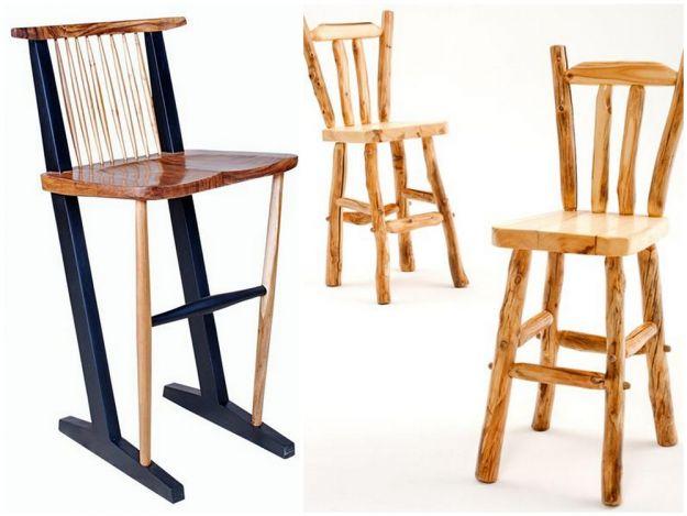 Krzesła barowe - drewniane