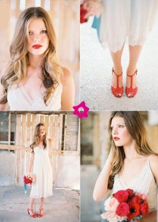 Romantyczny Makijaż ślubny Z Czerwonymi Ustami Dla Blondynki