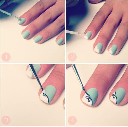 Pomysł na manicure ze wstążeczką