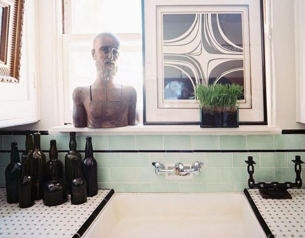 Miętowa zieleń w łazience