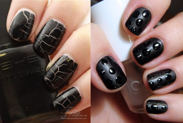 Czarny lakier na paznokciu