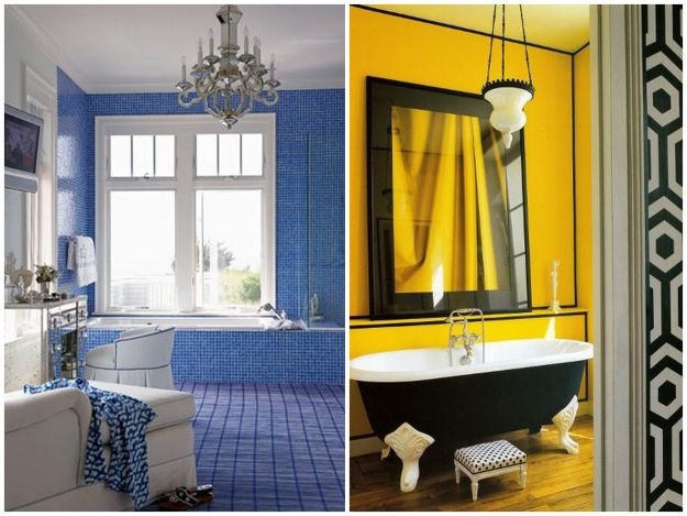 Soczyście kolorowe łazienki