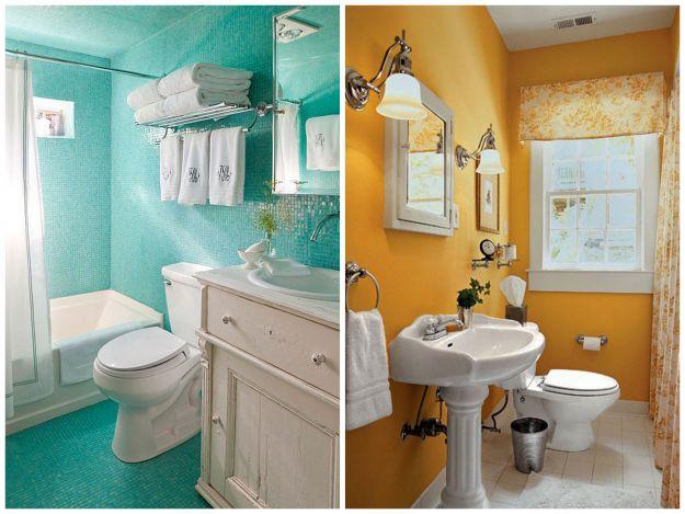 mała łazienka w kolorowej odsłonie
