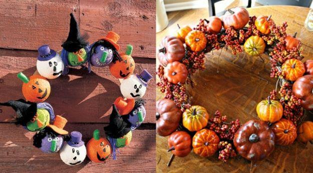 kolorowe wieńce na Halloween