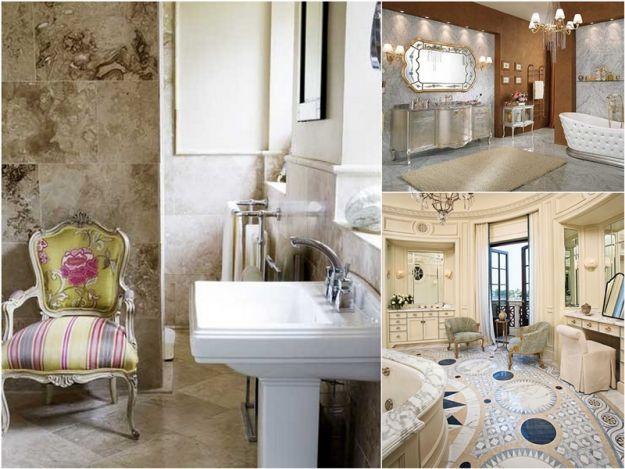 Wzorzysta łazienka w stylu glamour