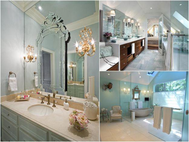 Pastelowa łazienka w stylu glamour