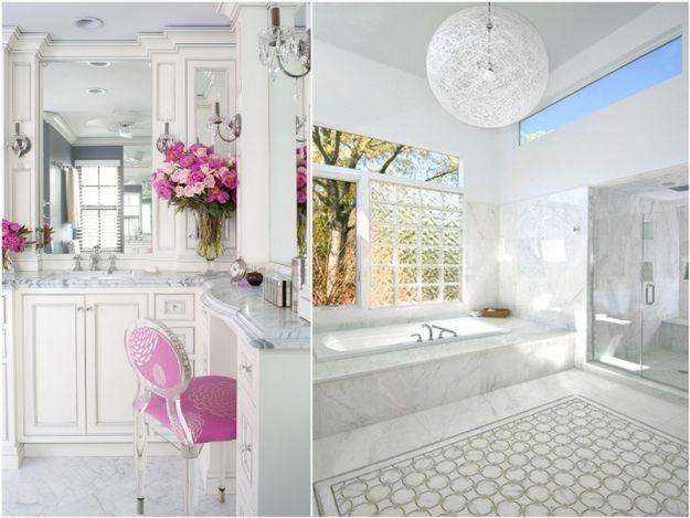 Biała łazienka w stylu glamour