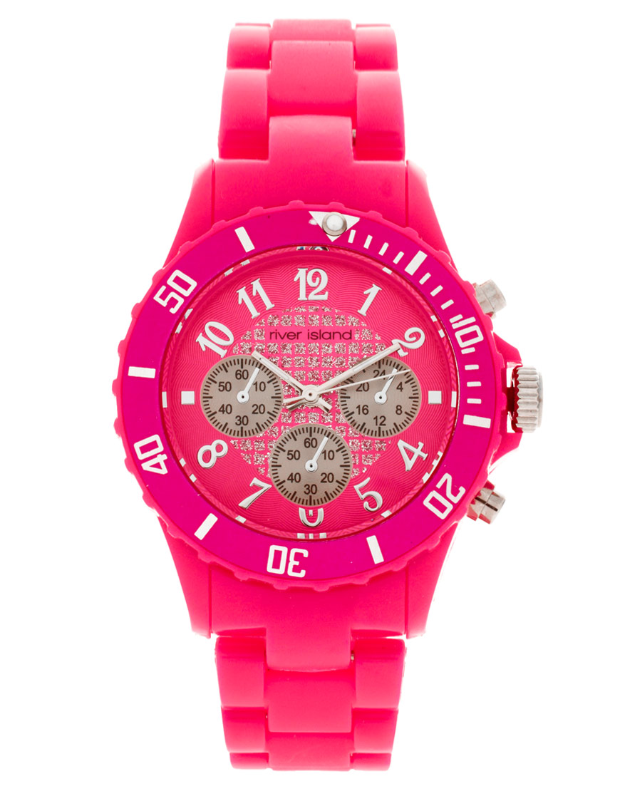 Женские часы River Island Pink Plastic Sami Watch
