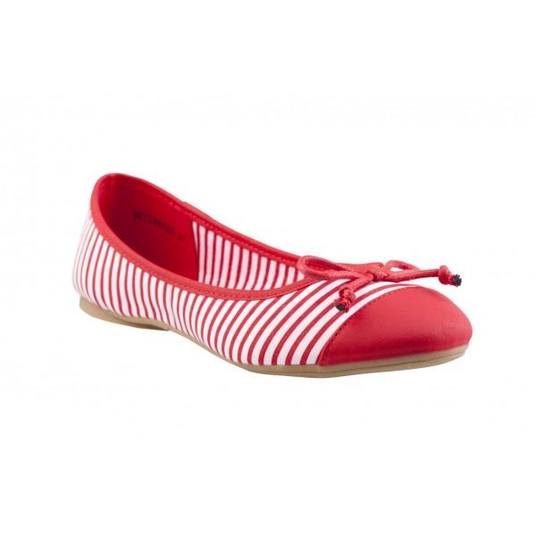 Czerwono Biale Baleriny Ccc W Paski Shoes Wedges Fashion